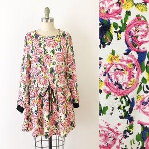 Anthropologie Floral Long Sleeve Skater Dress E510
